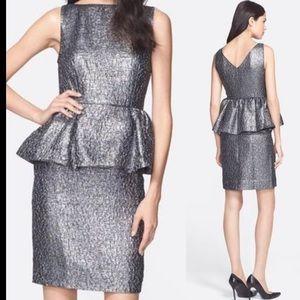 NWT Kate Spade 'Andi' Metallic Peplum Dress Size 2